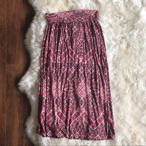 Cynthia Rowley Printed Fold Over Red Maxi Skirt